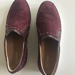 Halogen Burgundy Suede Studded Slip on Kicks 8.5M